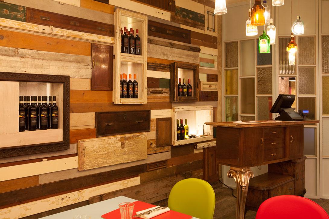 Arredamento Con Materiale Riciclato : Design il tegolo ristorante pizzeria